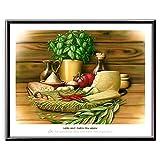 Veit`S Bilder Wandbild Cartoon Küche Esszimmer - Liebe geht durch den Magen! (Mittel 40x50mit Rahmen)