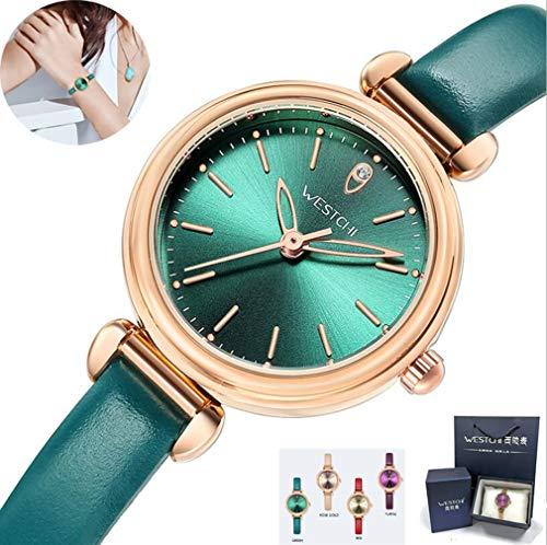 Ladies Watch, Damen Quarz-Uhr/4 Farben, Rosengold-Gehäuse, Wasserdicht, Importierter Quarz Satz, Ledergurt, Professionelle Verpackung Geschenkbox,Green