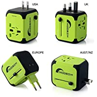 Moobom Universale Portatile Power Connettore Adattatore da viaggio (US UK EU AU) Ladestecker multinazionale con porta Max 2.4A doppia USB e fusibile AC-in caricabatterie