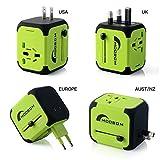 Moobom Universale Portatile Power Connettore Adattatore da viaggio (US UK EU AU) Ladestecker multinazionale con porta Max 2.4A doppia USB e fusibile AC-in caricabatterie (verde)