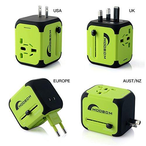 Moobom Universal Weltweit Mini Travel Adapter Plug Power (US UK EU AU) Multinational Ladestecker mit Max 2.4A Dual USB Ports und Sicherung AC-in Ladegerät, grün (Grün)