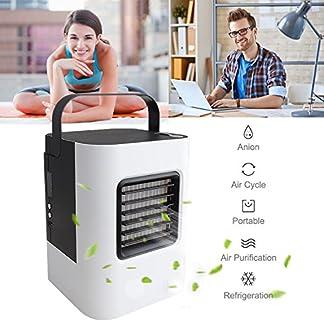 Mini Air Cooler mobile climática dispositivos Aire enfriador con enfriamiento de agua habitaciones Aire Acondicionado Ventilador USB climática dispositivo 3en 1enfriador de aire purificador de aire ajustable 7Color LED de luz–3niveles de ventilación