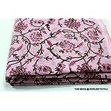 Floral Print Jaipuri Fabric Handmade Sanganeri Cotton Fabric Indian Hand Block Print Fabric 2.5 Meter