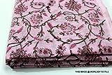 #7: Worldoftextile Floral Print Jaipuri Fabric Handmade Sanganeri Cotton Fabric Indian Hand Block Print Fabric 2.5 Meter
