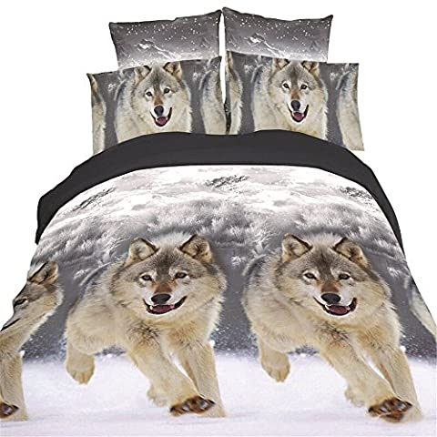 Hansee® 3D Wolves Animal Print Duvet Cover Luxury Home Bedding Pillow Cases Bed Sheets with 4PC Set