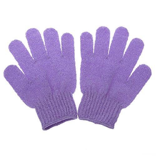 Fenteer 1 Paire Gants de Douche Exfoliants de Peau Morte du Corps Masseur à Stimuler la Circulation Sanguine - Violet