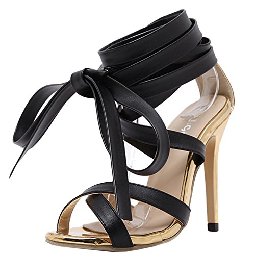 Oasap Women's Peep Toe Stiletto Heels Strappy Sandals Black