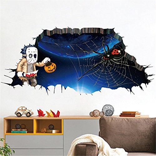 Zitate Scary Halloween (Petansy Schnelle Lieferung Halloween Zimmer Boden 3D Wandaufkleber Scary Wandtattoos Halloween)