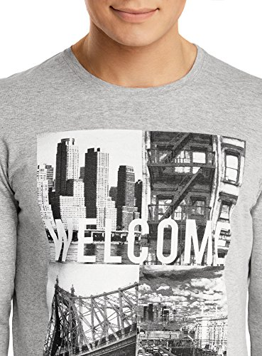 oodji Ultra Herren T-Shirt Langärmlig mit Urban-Druck Grau (2329P)