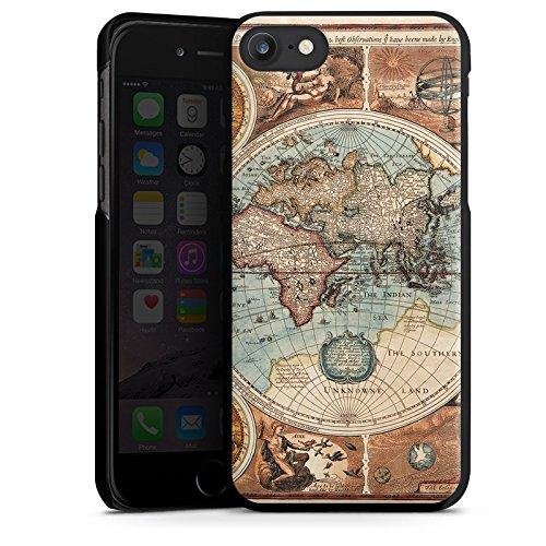 Apple iPhone 6 Hülle Case Handyhülle Vintage Weltkarte Karte Map Hard Case schwarz