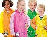 Regenponcho Regenjacke für Kinder, für Jungen und Mädchen mit Motiv: orangener Tiger - Größe S