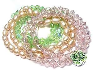 Perlen-Set Zuchtperlen Glitzerperlen rosa grün & Elfenstein edles Bastelset zum Schmuck selber machen