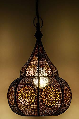 Lampe Suspension Luminaire marocaine Ilham 40cm noir E27 Douille | Plafonnier Lustre de Salon marocain oriental | Lanterne électrique indienne Vintage design décoration de maison orientale arabe
