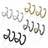 Flongo Ohrklemme 8 Stück Edelstahl Ohrringe Ohrstecker Ohrclip Ohrklemme Non Piercing Fake Captive Ring Ohrpiercing Helix Cartilage Knorpel Piercing Silber Schwarz Bunt Gold Golden Herren, Damen
