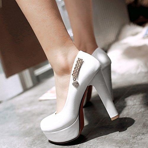 TAOFFEN Femmes Elegant Talons Hauts Escarpins Bloc Sangle De Cheville Soiree Chaussures De Boucle 735 Blanc