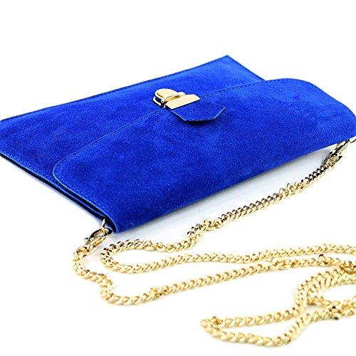 modamoda de -. ital Borsa scamosciata frizione borsa borsa borsa da sera Città T206 Königsblau