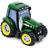 alles-meine GmbH Große Spardose -  Traktor / Landmaschine - Fahrzeug - Grün  - inkl. Name - s..