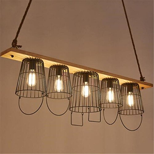 BZJBOY Lampade a sospensione La canapa Corde lampadario pendente di stile Vintage industriale camera da (Acciaio Inossidabile Benna)
