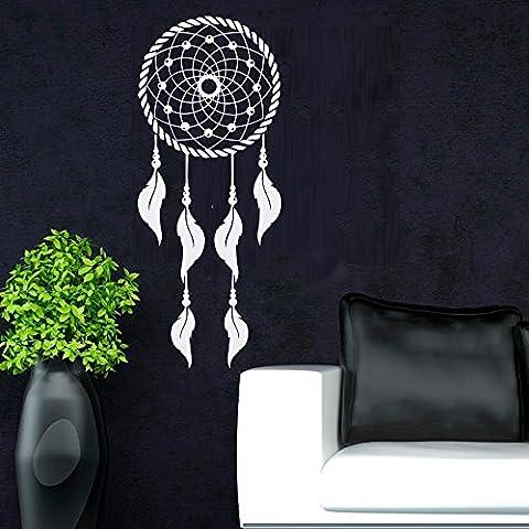 Dream Catcher Wall Decal Decor nativa americana piume adesivo da parete adesivo da parete cameretta soggiorno Dorm camera D ¨ ¦ cor, Vinile, White, 9