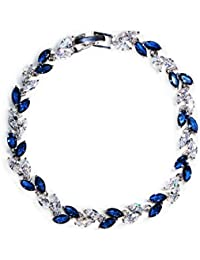ABHISTA Brass Platinum Plated White and Blue Brass Bangle and Leaf in Tiara for Women