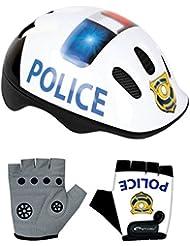 Set Spokey–Casco de bicicleta para chica bicicleta Policía con guantes, Police