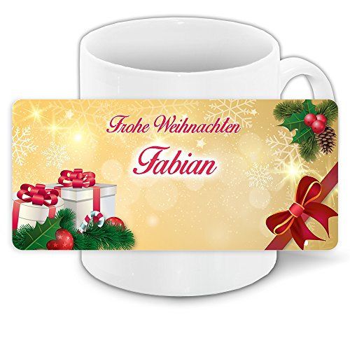Tasse mit Namen Fabian und winterlichem Motiv Bär mit Brille und Pullover - Tasse zu Weihnachten