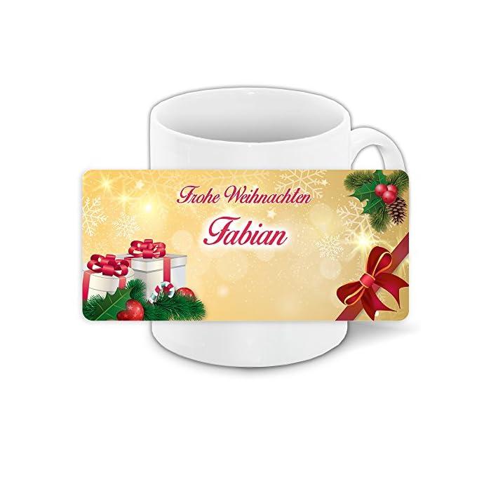 Tasse zu Weihnachten mit Namen Fabian und schönem Weihnachtsmotiv 1