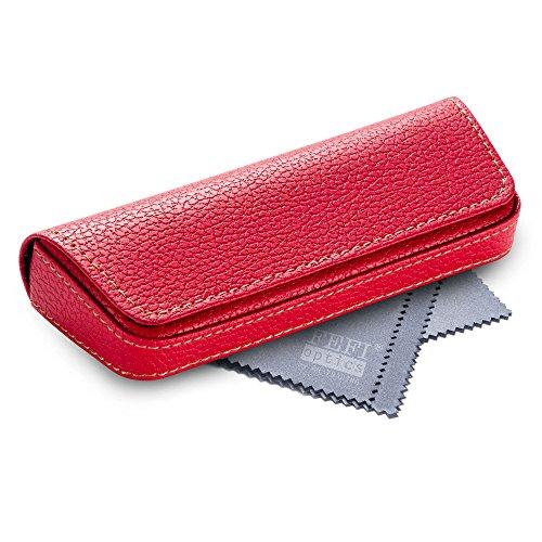 FEFI Elegantes Brillenetui im Leder-Look - mit Magnetverschluss - Hardcase - inklusive hochwertigem Brillenputztuch/Mikrofasertuch (Rot)