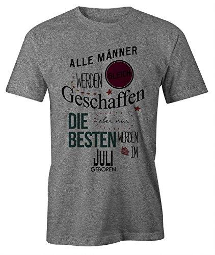 er Werden Gleich Geschaffen aber Nur Die Besten Werden IM Juli Geboren Geburtstag Geschenk T-Shirt Herren Grau X-Large (Her Von Juli T-shirts)