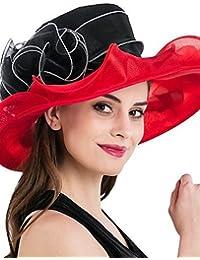 MGS-Sombreros   Mujer Primavera Otoño Verano Sombrero Flor Malla de Tul  Sombrero Playero 836e72b0eac