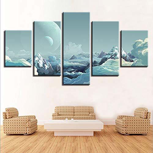 mmwin Dekor Wandkunst Home Schlafzimmer Bilder HD Druck Auf Leinwand 5 Stücke Berg Und Mond Landschaft s Poster Modular