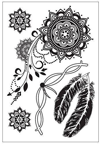 Faux tatouage noir Mandala plumes Pointe Tattoo Henna black55 Bijoux Tattoo Orient Tattoo à coller pour le corps