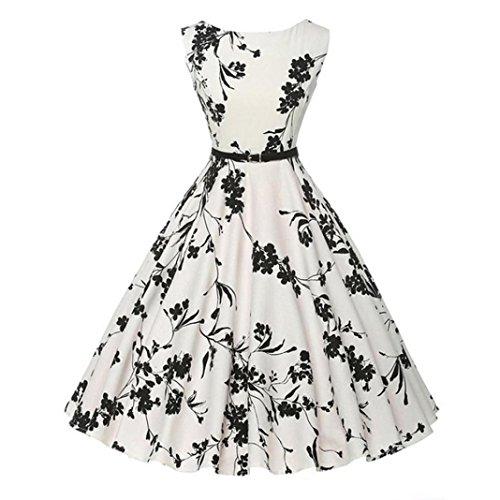 VEMOW Heißer Verkauf Elegante Damen Frauen Vintage Floral Bodycon Sleeveless Beiläufige Abendgesellschaft Prom Swing Retro Dress(Weiß 2, EU-34/CN-S)