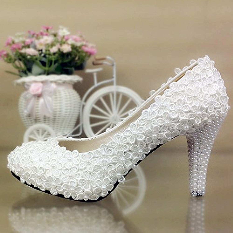 JINGXINSTORE Fiore Fiore Fiore di pizzo scarpe matrimonio bianco perla High-Heeled impermeabile scarpe nuziale, 3cm, UK3 | una grande varietà  | Uomo/Donna Scarpa  947a53
