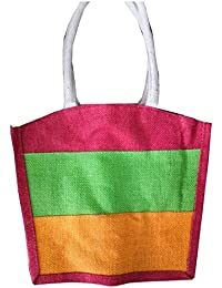 Pooja Bags Jute Carry Bag Set Of 2 PCs (Tricolor, Size: 12*10*5 Inches)
