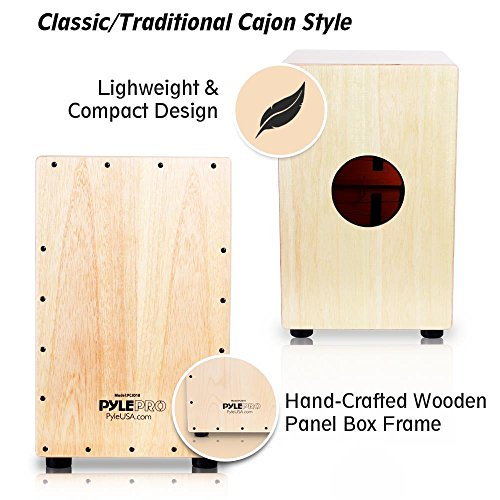 Pyle String Cajon - Wooden Percussion Box, with Internal Guitar Strings, Full Size (PCJD18)
