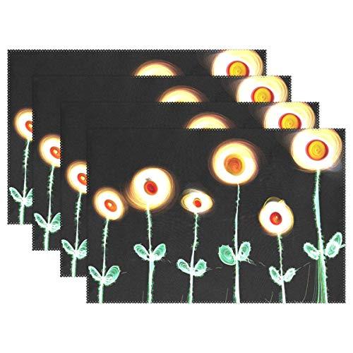 Promini Hitzebeständige Platzsets, Blumen, leuchtende Pflanzen, aus Polyester, waschbar, Rutschfest, waschbar, Platzsets für Küche und Esszimmer, 4 Stück - Suntouch Mat