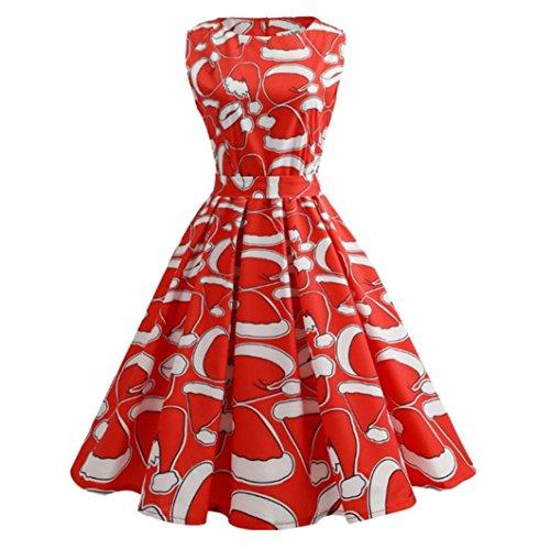 Sonnena Weihnachtskleid für Damen, Ärmellos, mit Weihnachtsmustern, inklusive Gürtel XXL Rot 2 (Tragen Bademantel)