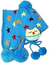 Happy Cherry Gorro Bufanda de Punto de Crochet Diseño de Estrellas y Búho (Conjunto/2 Piezas) para Bebé Niño Niña (10 meses - 4 años) - Color Azul/Rosa/Rojo/Amarillo a Elegir