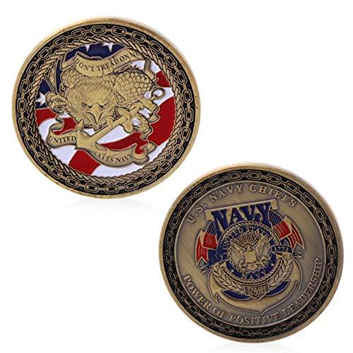 WanTo Vergoldete Gedenk-Herausforderungsmünze der US Navy Chiefs für die physische Sammlung (Us-navy Chief)