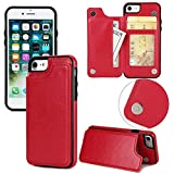 Long Love Apple Iphonex Mobile Shell 7/8Plus Crazy Horse Sticker Protective Case S9 Magnetic Buckle Multifunction Mobile Phone Case (iPhone 7/8, Rot)