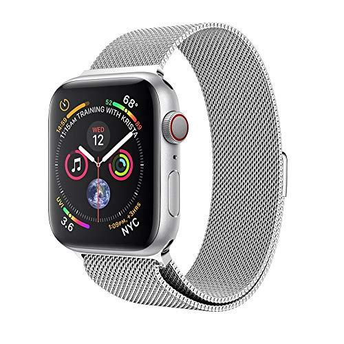 Ouneed Für Apple Watch Series 4 44mm armband, Milanese Mesh Loop Magnetverschluss Edelstahl Uhrenarmband Ersatz Armband für Apple Watch Series 4 44mm (Silber) -