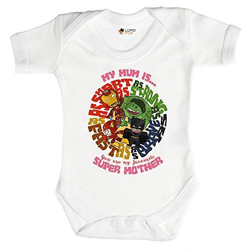 Superhero Mum Mummy Geschenk Marvel Strampler Baby Grow alle Größen Einteiler 0–24Monate 6-12 Monate