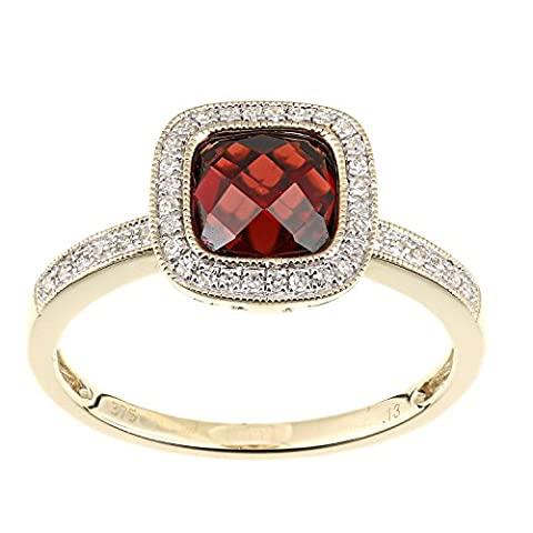 Naava Femme 9carats (375/1000) Or jaune Coussin Rouge Granat Diamant