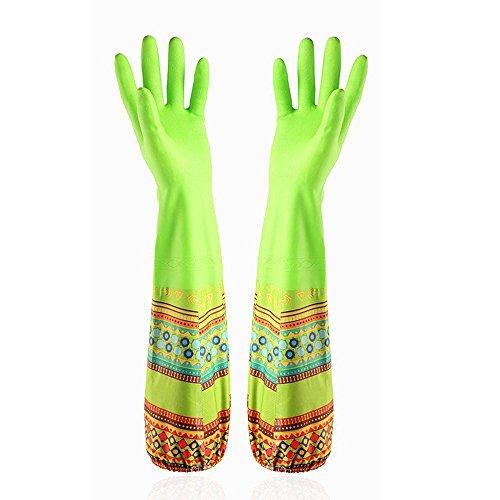 Ferryman Küche Gummi Reinigung Handschuhe mit futter Haushalt Haarverdichtung Wasserdichte PU Geschirrspülen Latex Handschuh, groß, grün, Large (Heavy-duty-haushalts-handschuhe)