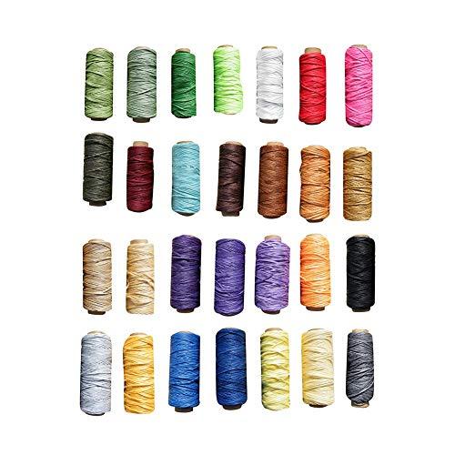 Gorgebuy Fil à Cire Cordon - 28 Couleurs 30m en Cuir à Coudre Fil à Coudre Corde à Coudre à la Main Artisanat Bricolage Outils à Tricoter Teinture Artisanat Plat Ligne ciré Accessoires
