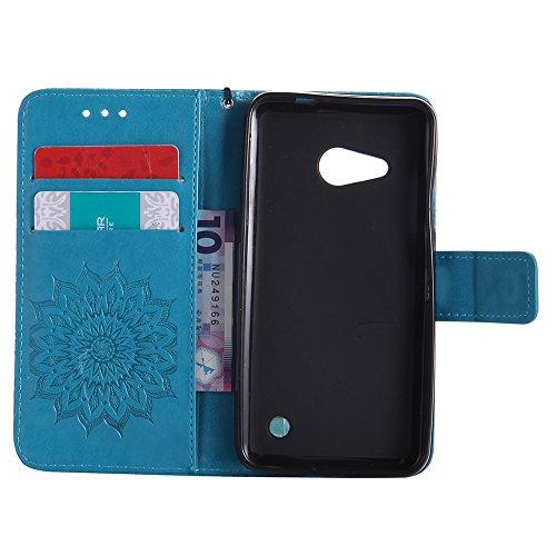 Für Microsoft Nokia Lumia N550 Fall, Prägen Sonnenblume Magnetic Pattern Premium Soft PU Leder Brieftasche Stand Case Cover mit Lanyard & Halter & Card Slots ( Color : Brown ) Blue