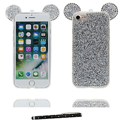 """Coque iPhone 6 6s Cover Cartoon 3D Oreille de souris, Durable Light Slim Diamonds Bling Bead Transparent Cute iPhone 6 Étui iPhone 6S Case 4.7"""" Poussière Poof & stylet Slivery"""