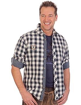 Krüger Dirndl H1613 - Trachtenhemd mit Langem Arm - Eric - Blau, Größe L