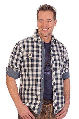 Krüger-Dirndl H1613 - Trachtenhemd mit Langem Arm - Eric - Blau, Größe S